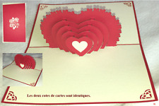 "Carte Saint Valentin Amour/ mariage  ""Multi coeur debout "" 3D kirigami Pop Up"