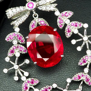 RUBY PIGEON BLOOD RED OVAL 21 CT.SAPP 925 STERLING SILVER PENDANT JEWELRY GIFT