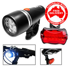 5 LED Water Resistant Bike Bicycle Head Light+ Rear Safety Flashlight - NSW AU