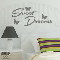 Sweet Dreams Wall Art Sticker quote with Butterflies Bedroom Vinyl Wall Stickers