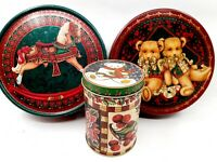 Trio of  Richly Detailed Christmas Holiday Collectible Decorative Metal Tins