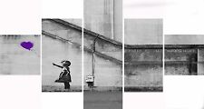 Extra Large Five Piece Set Banksy Purple Balloon Hope Graffiti Canvas Picture