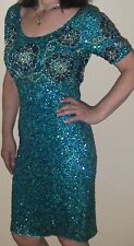 Vintage Cocktail Dress Gene Shelly's Boutique International Sequin Beaded Blue #
