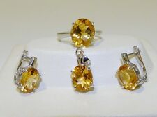 GENUINE 12.71tcw Brazilian Citrine, Solid S/Silver 925 Set Ring/Pendant/Earrings