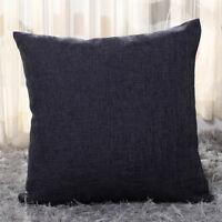 Soft Plain Pillow Case Cotton Linen Cushion Cover Car Bed Sofa Waist Home Decor