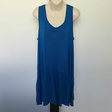 'AUTOGRAPH' BNWT SIZE '16' 2 TONED BLUE SLEEVELESS TOP WITH DRAPED HEMLINE