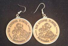 Wooden Nickel Earrings San Antonio Florida Rattlesnake Festival Souvenir 1988