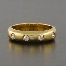 New 18ct yellow gold handmade wedder ring with 4 round brilliant cut diamonds