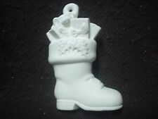 D226 - Ceramic Bisque Ornament: Boot with Presents - 3D- Ready to Paint