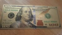 Beautiful Gold Foil $100 Bills, Has No Cash Value & Intended For Collectors!