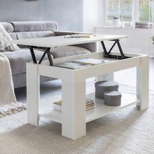 FineBuy table basse Table de rangement fonction d'ascenseur blanc d'étagère