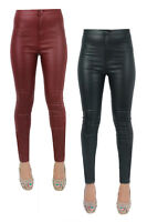 WOMENS SUPER SKINNY FIT HIGH WAIST LEATHER WET LOOK JEANS TROUSERS SIZE 6-14