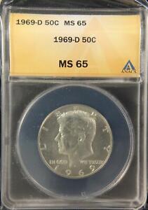 1969-D KENNEDY HALF DOLLAR GEM UNC ANACS MS65 US COIN (336)