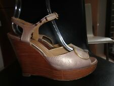 Authentic  Chloe     wooden  heels  beige  leather  shoes.   Size   37
