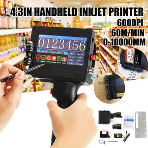 Portable Handheld Inkjet Printer Touch Screen Date Word QR Barcode Logo 2-13mm