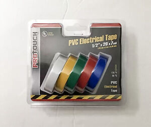 """SET OF 5 PC PROTOUCH UL LISTED PVC ELECTRICAL TAPE 1/2"""" X 20' 5 ASSORTED COLORS"""