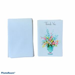 """Vintage American Greetings Thank You Cards 4"""" x 2 1/2"""" Lot of 11 Flowers Mini"""