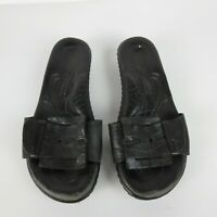 Born Elizabeth W31539 Black Leather Buckle Slip-On Comfort Sandals Women's 8