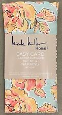 Nicole Miller Aqua Coral Pink Floral Cloth Napkins Set 4