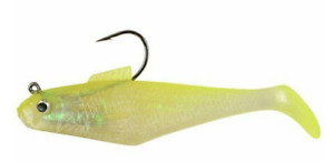 "Berkley PowerBait Pogy Swim Shad Fish Bait, 3"", Shiner Chartreuse, 1/4 Oz, 5 Ct"
