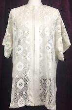 White Zip Up Knit Crochet Macrame Beach Boho Chic Dress Swim Cover Up One Sz