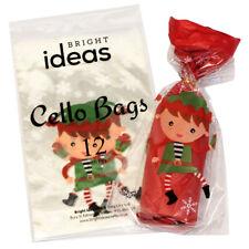 12 Christmas Cellophane Cello Party Bags With Twist Ties ELF / ELF'S DESIGN