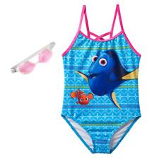 NEW Girls Disney Finding Dory & Nemo 1 pc Bathing Swim Suit size 5/6 + Goggles