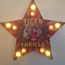 """LARGE """" TIGER THRILLS """" MARQUEE CARNIVAL LIGHT WALL ART LED"""