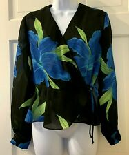 John Roberts Size M P  Poly Crepe Crossover Wrap Blouse Bold Floral Long Sleeves