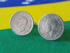 Sterling Silver Canadian Ten Cent Coin Cufflinks -- Canada Dime Money Jewelry