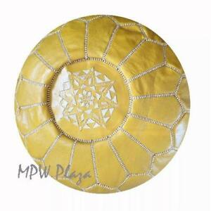 MPW Plaza Pouf, Yellow, Moroccan Leather Ottoman (Un-Stuffed)