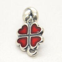 New 925 Sterling Silver Dangle Red / Green Enamel Luck Clover Dangle charm bead