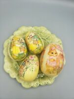 4 Vintage Decoupage Easter Egg Paper Mache Shappy Victorian Bunny Mouse Flowers