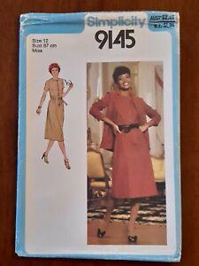 SIMPLICITY PATTERN - 9145 LADIES DRESS FRONT BUTTONS JACKET BELT SIZE 12 UNCUT