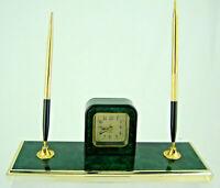 "Desk Set Two Pens w/ Quartz Alarm Clock Faux Green Marble Acrylic Gold Trim 9x3"""