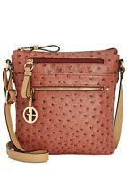 Giani BerniniEmbossed Faux Ostrich Crossbody, Faux Leather Ostrich Zip Top