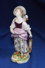 ANTIQUE ROYAL VIENNA FIGURINE PHESANT GIRL TO MARKET WITH RABBIT & GOOSE MINT