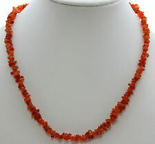 Natural Carnelian Splitter Chain (45 cm long, Precious Stone, Necklace, Orange)
