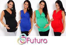 Women's Maternity Vest Top Sleeveless V Neck Tunic Pregnancy Sizes 8-18 5104