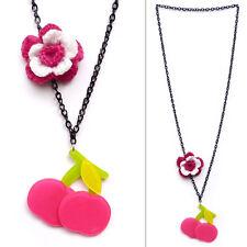 COLLIER PENDENTIF SAUTOIR - pin up rétro Cerises Roses - Fleur en crochet