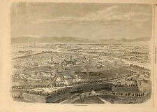 Stampa antica PARMA veduta panoramica a volo d'uccello 1859 Old print