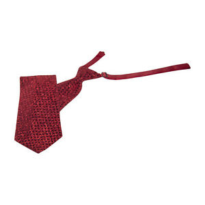Red Sequins Banded Straight Tie