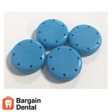 4X Neon Blue Round Magnetic Dental Bur Block Holder Station Plastic 7 Holes FDA