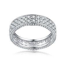 2ct Moissanite Gemstone Engaegement Generous Band Gift Sterling Silver 925 Ring