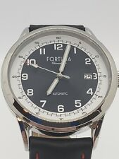 Fortuna Chronometrie Black Red Men's Japan Automatic German Made Watch Leather