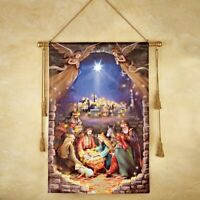 LED Lighted Christmas Nativity Scene Hanging Home Wall Tapestry