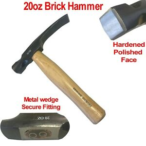 20oz Brick Hammer Genuine Hickory Handle Masonry Chisel Bricklayers