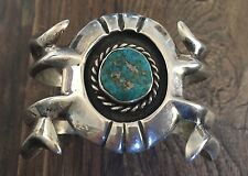 HEAVY (2.49 OZ.) VINTAGE NAVAJO SPIDERWEB TURQUOISE & STERLING SANDCAST CUFF