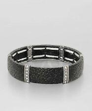 Leather Look Silver Tone Black Stretch Bangle BraceletFashion Jewelry