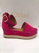 NIB Chloe Dark Pink Suede Lauren Espadrille Platform Wedge Sandals Sz 37 $595